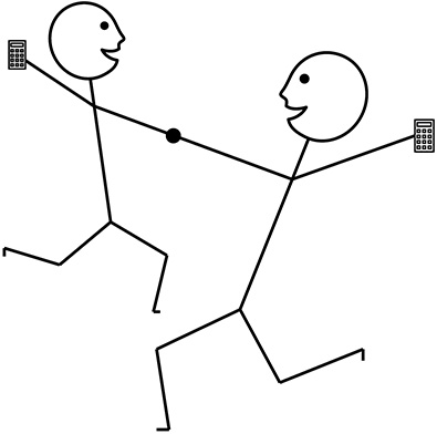 two stick figure people dancing and holding calculators