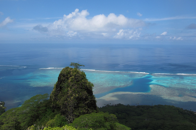 view from a high hill looking at the ocean on the island of Moorea in French Polynesia