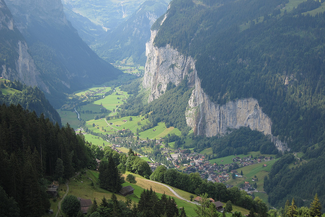 the Swiss town of Lauterbrunnen seen from high up