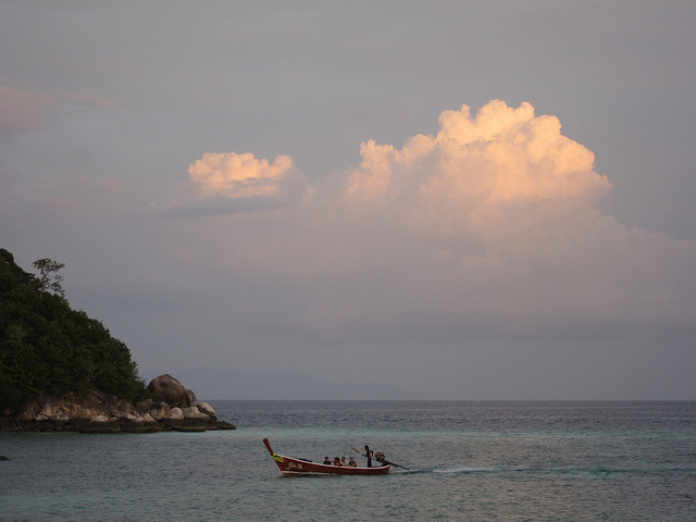 longtail boat at sunset near the island of Lipe, Thailand