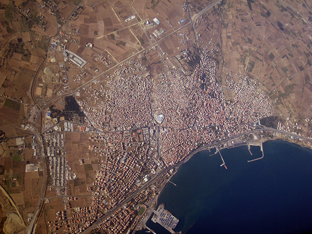 city in Turkey seen from a plane high above
