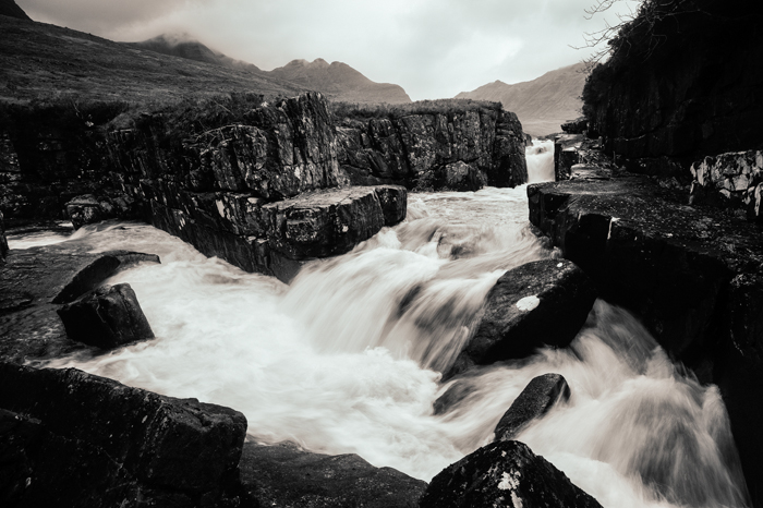 'Abhainn Coire MhicNobaill, Torridon, Scotland'. > This is a scene that has changed little in the last 1000 years or more so I went for the timeless look given by the Daguerreotype – Sepia filter, using the Default Color Sensitivity Preset. Having battled with the grain of 35mm film for many years, I remain nervous about adding any more than I need for a particular look. <