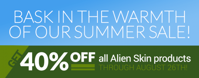 Bask in the warmth of our summer sale! 40% off all Alien Skin products through August 26!
