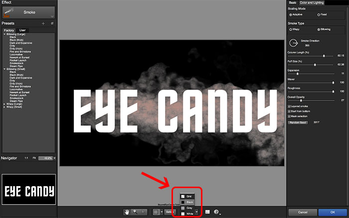 Adjust the canvas settings on the bottom toolbar in Eye Candy when an effect is hard to see on the standard grey and white transparent grid.