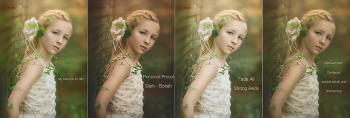 Nikki builds up edits to her images in several layers. In the above example, she applied a Kodak Gold film look with boosted clarity. Then she made image darker and bluer by applying the Cinema, Deep Dark preset. As a final step, Nikki brushed the Cool Light effect off of her skin to retain some warmth and life in the little girl.