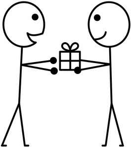 stick figure person giving another person a gift