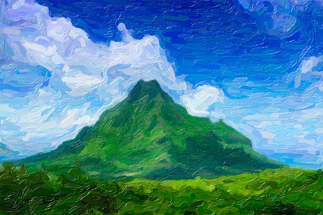 Mount Rotui with Snap Art impasto paint effect
