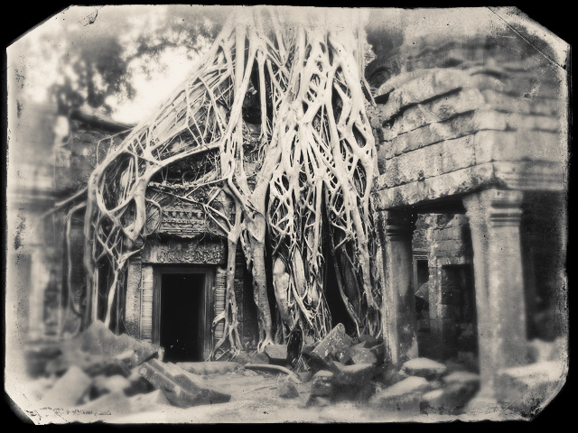 Ta Prohm temple near Siem Reap, Cambodia. Wet Plate old effect made using Exposure product from Alien Skin Software.
