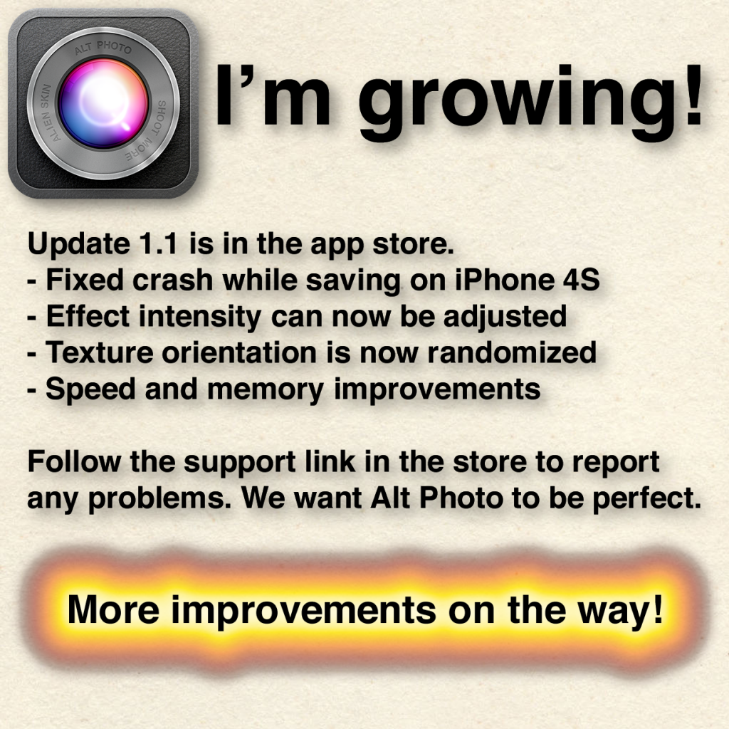 text describing update version 1.1 for the Alt Photo iphone app