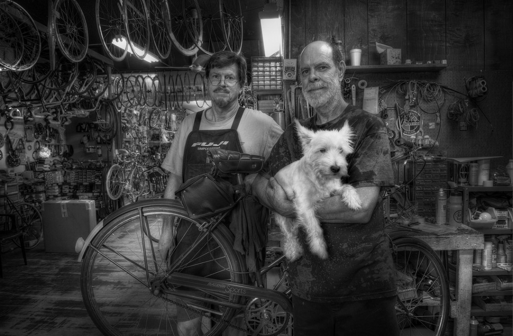 black and white photo of bicycle mechanics