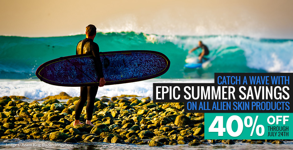 Catch a wave with epic summer savings on all Alien Skin products. 40% off through July 24th.
