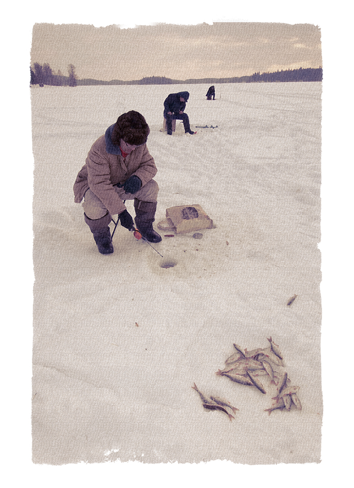 Nostalgia for Snow: A Climate Change Photography Project. Ice fishermen on Puhajarv, Estonia
