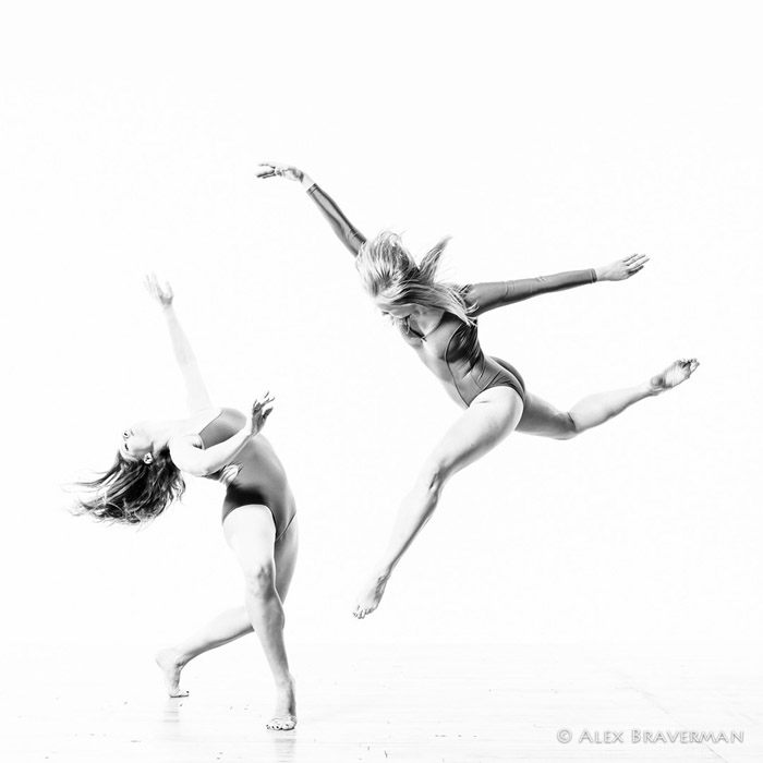 black and white dance photography with Alex Braverman: Birds of Prey #132 Lois Greenfield studio, Credits: Katherine Moncure Williams, Jessica Batten