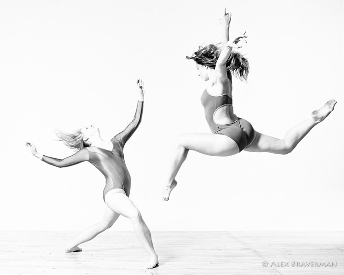 black and white dance photography with Alex Braverman: Birds of Prey #145 Lois Greenfield studio, Credits: Katherine Moncure Williams, Jessica Batten