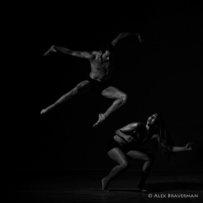 black and white dance photography with Alex Braverman: Birds of Prey #512 Lois Greenfield studio, Credits: Mariana Ranz, Austin Tyson