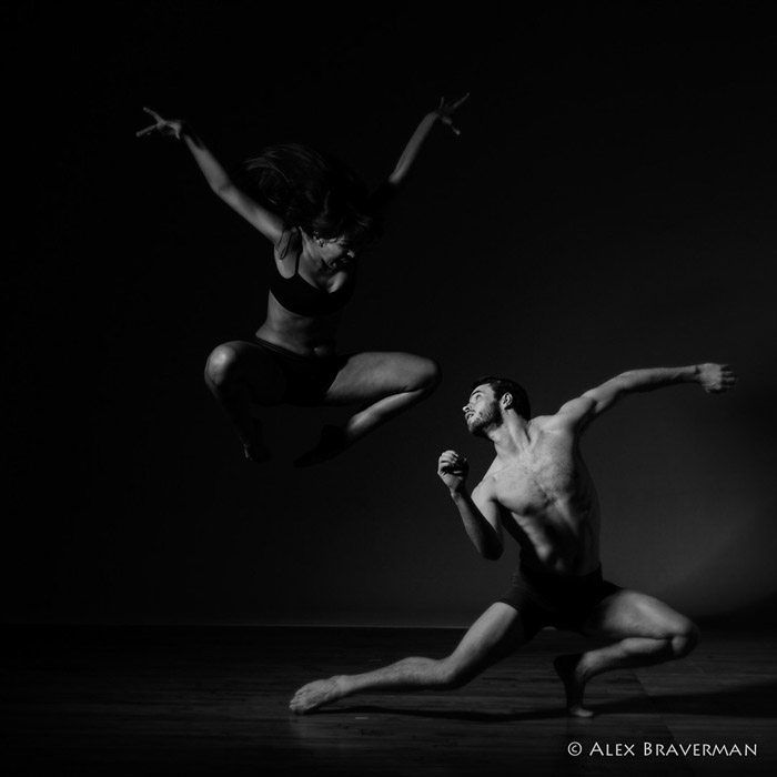 black and white dance photography with Alex Braverman: Birds of Prey #519 Lois Greenfield studio, Credits: Mariana Ranz, Austin Tyson