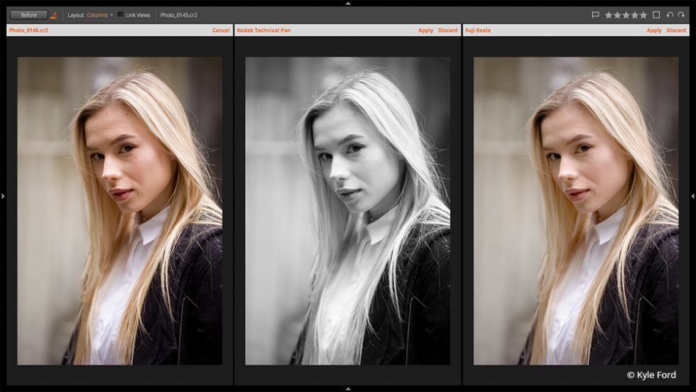 Uninterrupted Creativity - preset audition view of a portrait by Kyle Ford